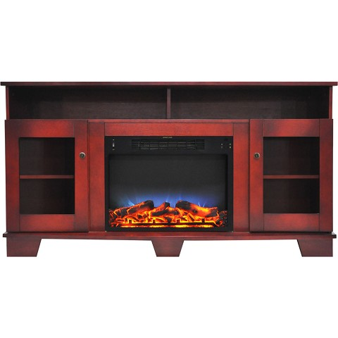 Cambridge Savona 59 In. Electric Fireplace in Cherry with Entertainment Stand and Multi-Color LED Flame Display - CAM6022-1CHRLED