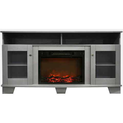 Cambridge Savona 59 In. Electric Fireplace in Gray with Entertainment Stand and Charred Log Display - CAM6022-1GRY