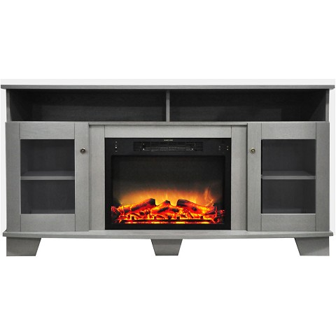 Cambridge Savona 59 In. Electric Fireplace in Gray with Entertainment Stand and Enhanced Log Display - CAM6022-1GRYLG2