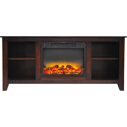 Cambridge Savona 59 In. Electric Fireplace in Mahogany with Entertainment Stand and Enhanced Log Display - CAM6022-1MAHLG2