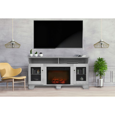 Savona Fireplace Mantel with Electronic Fireplace Insert in White - CAM6022-1WHT