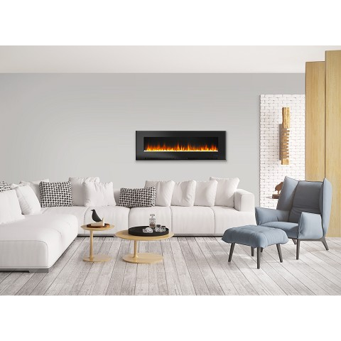 Cambridge 60 In. Wall-Mount Electric Fireplace in Black with Multi-Color Flames and Crystal Rock Display - CAM60WMEF-1BLK