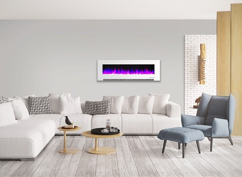 Cambridge 60 In. Wall-Mount Electric Fireplace in White with Multi-Color Flames and Crystal Rock Display - CAM60WMEF-1WHT