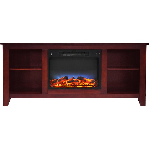 Cambridge Santa Monica 63 In. Electric Fireplace & Entertainment Stand in Cherry w/ Multi-Color LED Insert - CAM6226-1CHRLED
