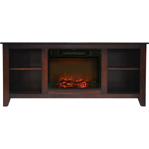Cambridge Santa Monica 63 In. Electric Fireplace & Entertainment Stand in Mahogany w/ 1500W Charred Log Insert -CAM6226-1MAH
