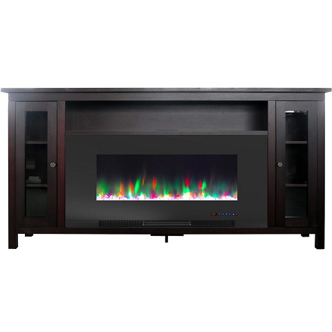 Cambridge Somerset 70-In. Mahogany Electric Fireplace TV Stand with Multi-Color LED Flames, Crystal Rock Display, and Remote Control, CAM6938-1MAH