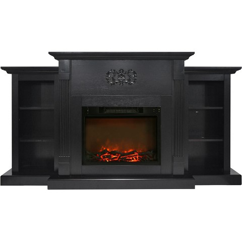 Cambridge Sanoma 72 In. Electric Fireplace in Black Coffee with Built-in Bookshelves and 1500W Charred Log Insert - CAM7233-1COF