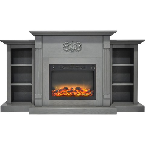 Cambridge Sanoma 72 In. Electric Fireplace in Gray with Built-in Bookshelves and an Enhanced Log Display - CAM7233-1GRYLG2
