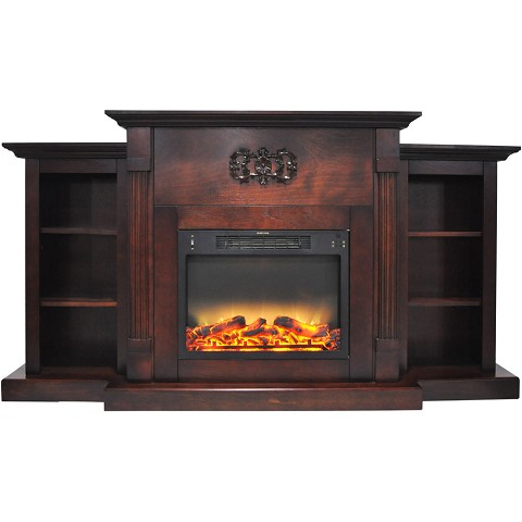 Cambridge Sanoma 72 In. Electric Fireplace in Mahogany with Built-in Bookshelves and an Enhanced Log Display - CAM7233-1MAHLG2
