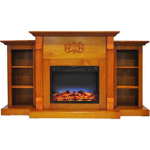 Cambridge Sanoma 72 In. Electric Fireplace in Teak with Built-in Bookshelves and a Multi-Color LED Flame Display - CAM7233-1TEKLED
