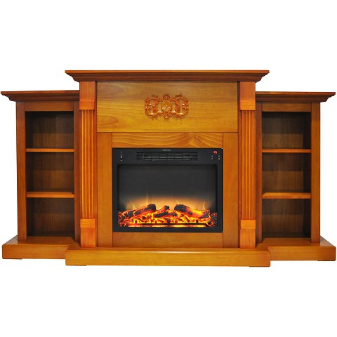 Cambridge Sanoma 72 In. Electric Fireplace in Teak with Built-in Bookshelves and an Enhanced Log Display - CAM7233-1TEKLG2