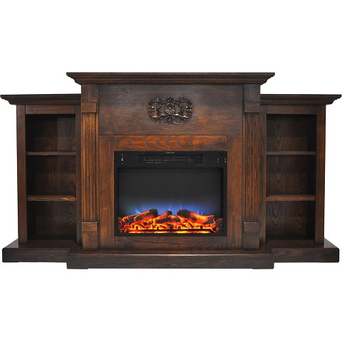 Cambridge Sanoma 72 In. Electric Fireplace in Walnut with Built-in Bookshelves and a Multi-Color LED Flame Display - CAM7233-1WALLED