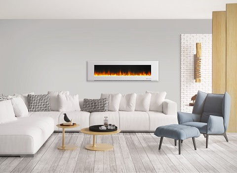 Cambridge 72 In. Wall-Mount Electric Fireplace in White with Multi-Color Flames and Crystal Rock Display - CAM72WMEF-1WHT