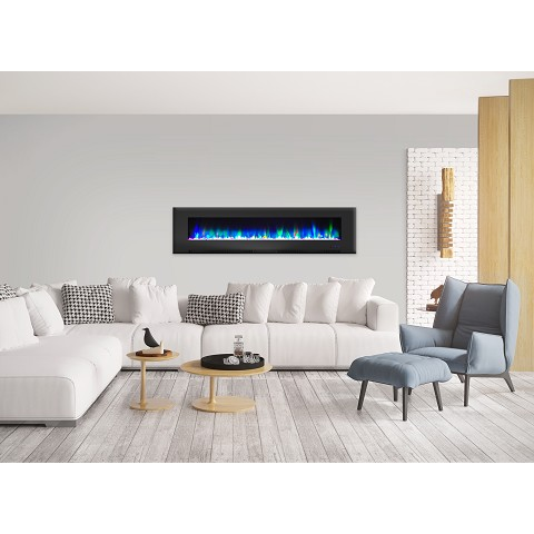 Cambridge 78 In. Wall-Mount Electric Fireplace in Black with Multi-Color Flames and Crystal Rock Display - CAM78WMEF-1BLK