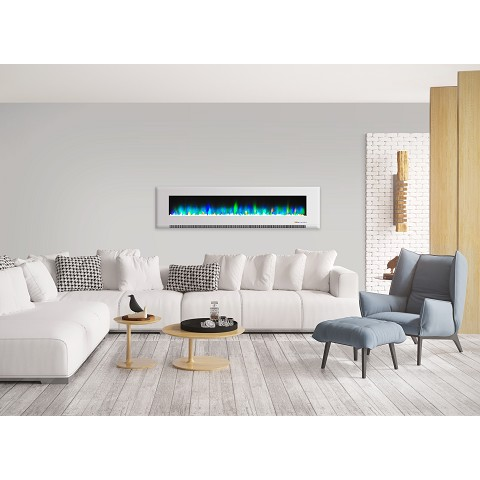 Cambridge 78 In. Wall-Mount Electric Fireplace in White with Multi-Color Flames and Crystal Rock Display - CAM78WMEF-1WHT