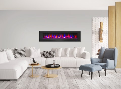 Cambridge 78 In. Wall-Mount Electric Fireplace in Black with Multi-Color Flames and Driftwood Log Display - CAM78WMEF-2BLK