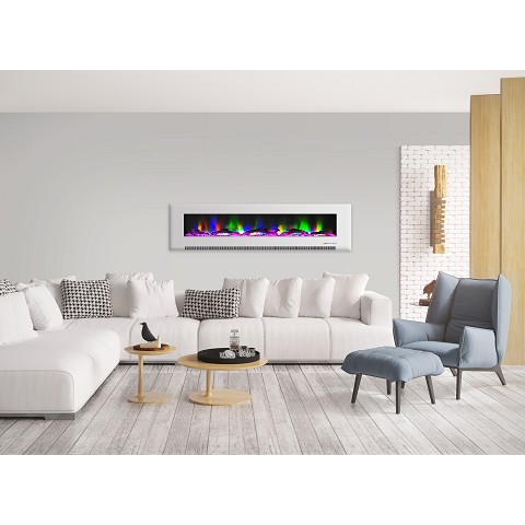 Cambridge 78 In. Wall-Mount Electric Fireplace in White with Multi-Color Flames and Driftwood Log Display - CAM78WMEF-2WHT