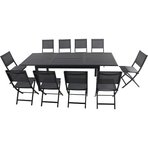 "Hanover Cameron 11-Piece Expandable Dining Set with 10 Folding Sling Chairs and a 40"" x 94"" Table -CAMDN11PCFD-GRY"