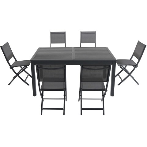 "Hanover Cameron 7-Piece Expandable Dining Set with 6 Folding Sling Chairs and a 40"" x 94"" Table - CAMDN7PCFD-GRY"