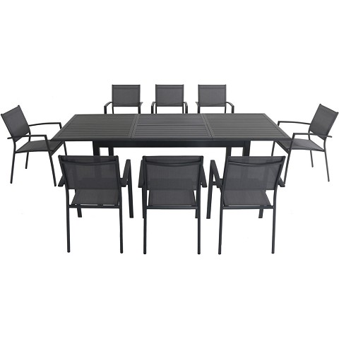 "Hanover Cameron 9-Piece Expandable Dining Set with 8 Sling Dining Chairs and a 40"" x 94"" Table - CAMDN9PC-GRY"