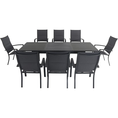 "Hanover Cameron 9-Piece Expandable Dining Set with 8 Padded Sling Dining Chairs and a 40"" x 94"" Table - CAMDN9PCHB-GRY"