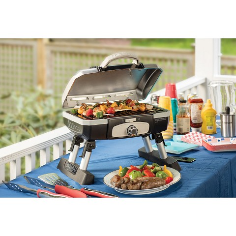 Cuisinart Petit Gourmet Portable Tabletop Outdoor LP Gas Grill in Silver/Black - CGG-180TS