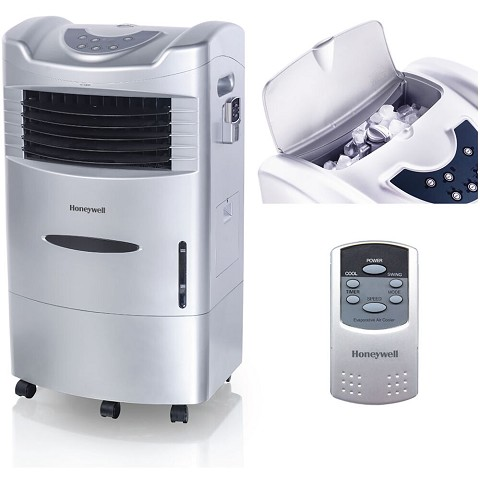 Honeywell 470 CFM Indoor Evaporative Air Cooler (Swamp Cooler) with Remote Control in Silver -