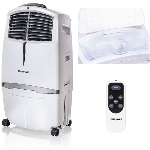 Honeywell 525-729 CFM Indoor Evaporative Air Cooler (Swamp Cooler) with Remote Control in White - CL30XCWW