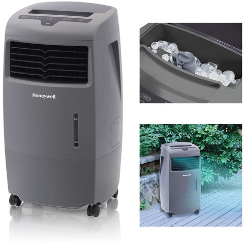 Honeywell 500-694 CFM Indoor/Outdoor Evaporative Air Cooler with Remote in Gray - CO25AE