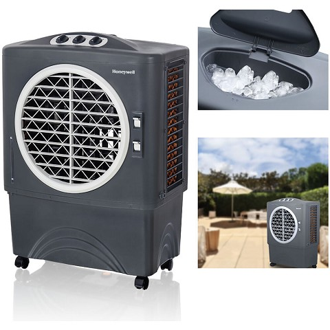 Honeywell 1062-1471 CFM Indoor/Outdoor Evaporative Air Cooler (Swamp Cooler) with Mechanical Controls in Gray - CO48PM