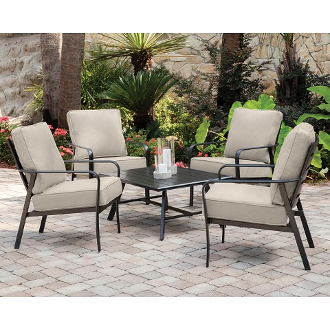 Hanover Cortino 5-Piece Commercial-Grade Patio Seating Set with 4 Cushioned Club Chairs and an Aluminum Slat-Top Coffee Table, CORT5PCCT-ASH