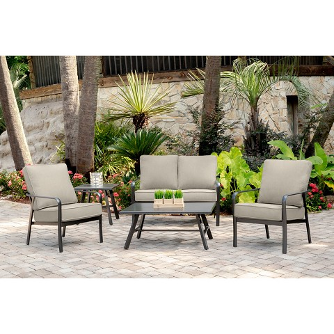 Hanover Cortino 5-Piece Commercial-Grade Patio Seating Set with 2 Cushioned Club Chairs, Loveseat, and Slat-Top Coffee and Side Table, CORT5PCL-ASH