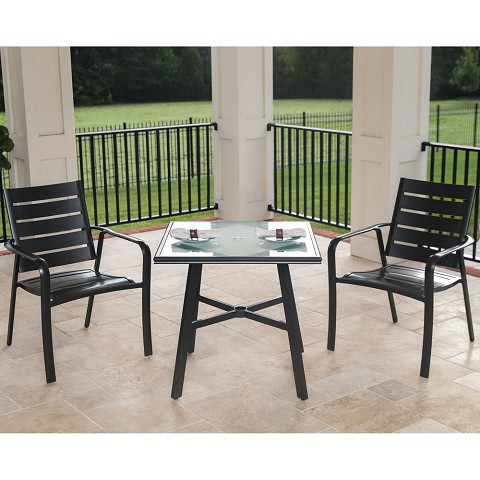"Hanover Cortino 3-Piece Commercial-Grade Bistro Set with 2 Aluminum Slat-Back Dining Chairs and a 30"" Tempered-Glass Table, CORTDN3PCG"