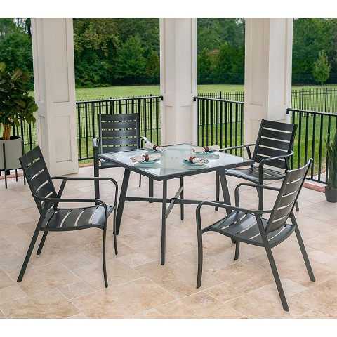 "Hanover Cortino 5-Piece Commercial-Grade Patio Dining Set with 4 Aluminum Slat-Back Dining Chairs and a 38"" Tempered-Glass Table, CORTDN5PCG"