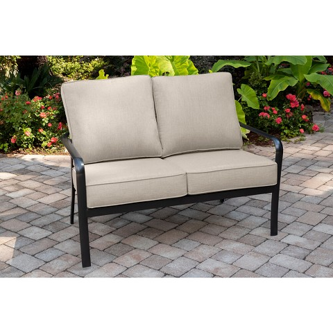 Hanover Cortino Commercial-Grade Aluminum Loveseat with Plush Sunbrella Cushions, CORTLVST-GMASH