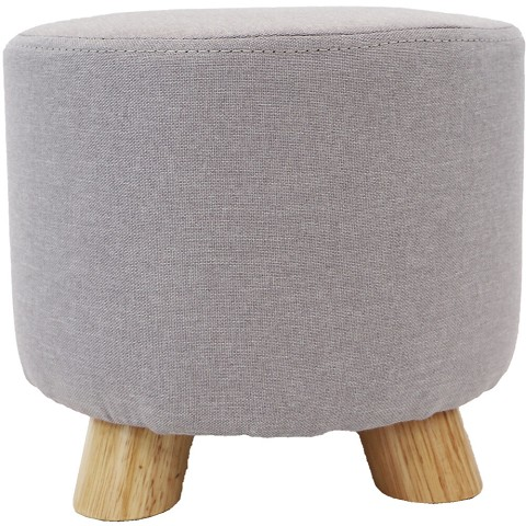 Critter Sitters 10-Inch Gray Upholstered Mini Foot Stool with Wooden Legs, CSFTSTL-GRY