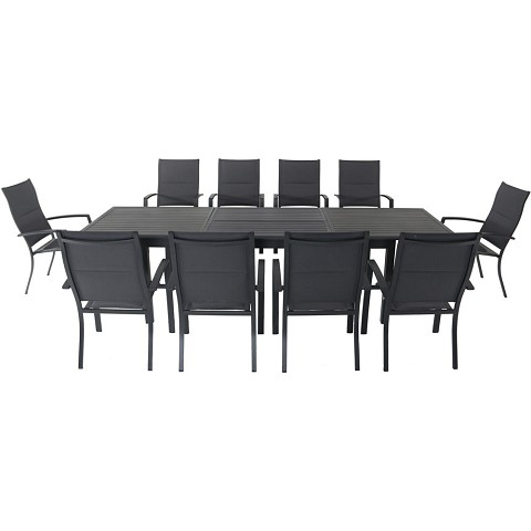 "Hanover Dawson 11-Piece Dining Set with 10 Padded Sling Chairs and an Expandable 40"" x 118"" Table - DAWDN11PCHB-GRY"