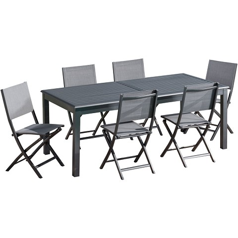 "Hanover Dawson 7-Piece Dining Set with 6 Folding Sling Chairs and an Expandable 40"" x 118"" Table - DAWDN7PCFD-GRY"