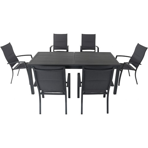 "Hanover Dawson 7-Piece Dining Set with 6 Padded Sling Chairs and an Expandable 40"" x 118"" Table - DAWDN7PCHB-GRY"