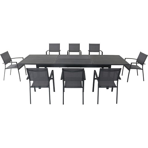 "Hanover Dawson 9-Piece Dining Set with 8 Sling Chairs and an Expandable 40"" x 118"" Table - DAWDN9PC-GRY"