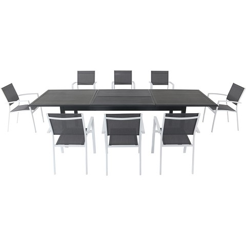 "Hanover Dawson 9-Piece Dining Set with 8 Sling Chairs in Gray/White and an Expandable 40"" x 118"" Table - DAWDN9PC-WHT"