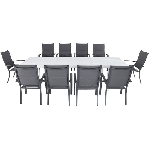 "Hanover Del Mar 11-Piece Outdoor Dining Set with 10 Padded Sling Chairs in Gray and a 40"" x 118"" Expandable Dining Table - DELDN11PCHB-WG"