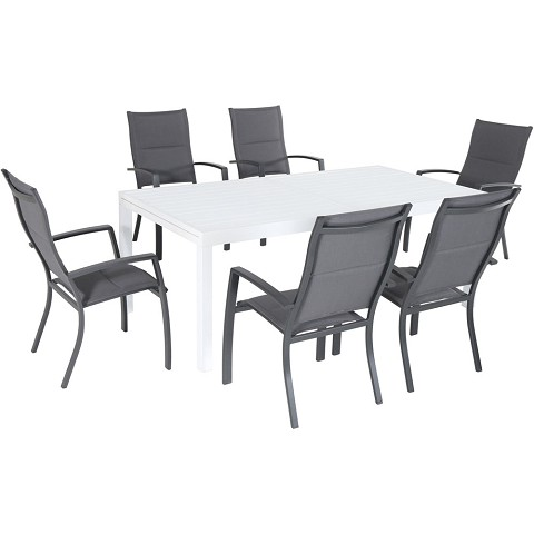 "Hanover Del Mar 7-Piece Outdoor Dining Set with 6 Padded Sling Chairs in Gray and a 40"" x 118"" Expandable Dining Table - DELDN7PCHB-WG"