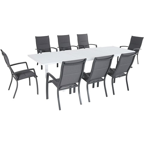 "Hanover Del Mar 9-Piece Outdoor Dining Set with 8 Padded Sling Chairs in Gray and a 40"" x 118"" Expandable Dining Table - DELDN9PCHB-WG"