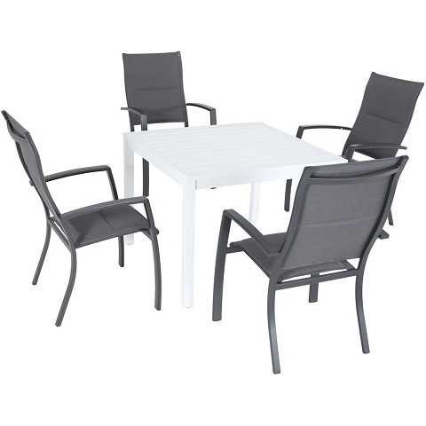 "Hanover Del Mar 5-Piece Outdoor Dining Set with 4 Padded Sling Chairs and a 38"" Square Dining Table - DELDNS5PCHBSQ-WG"