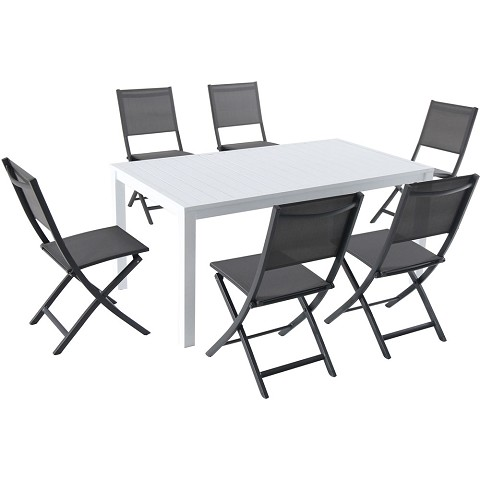 "Hanover Del Mar 7-Piece Outdoor Dining Set with 6 Sling Folding Chairs in Gray and a 78"" x 40"" Dining Table - DELDNS7PCFD-WG"