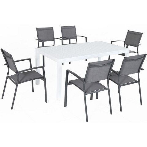 "Hanover Del Mar 7-Piece Outdoor Dining Set with 6 Sling Chairs in Gray and a 78"" x 40"" Dining Table - DELDNS7PC-WG"