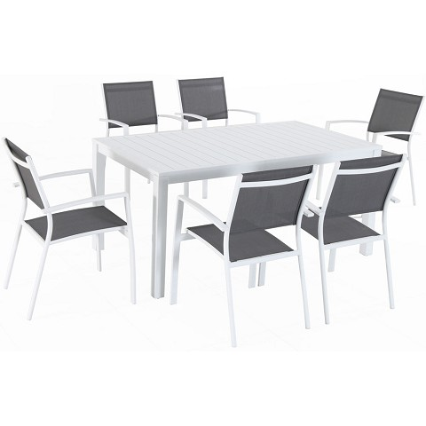 "Hanover Del Mar 7-Piece Outdoor Dining Set with 6 Sling Chairs in Gray/White and a 78"" x 40"" Dining Table - DELDNS7PC-WW"