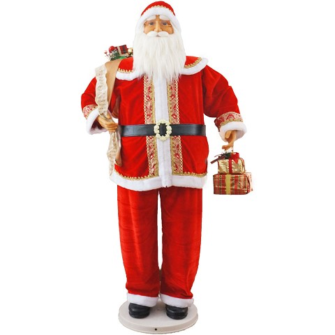 "Fraser Hill Farm 58"" Dancing Santa with Gifts in Hand - FASC058D-11RED"