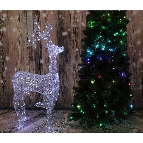 "Fraser Hill Farm Indoor/Covered Outdoor Christmas Decorations, 53""H Pre-Lit Crystal Reindeer w/ 120 LED Lights and 8 Lighting Effects, FCRY060-DEER1-WT2"